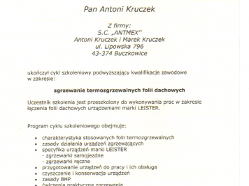 Kingspan Certyfikat